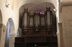 Ancienne abbaye Saint-Aphrodise - Français:   Intérieur de la Basilique Saint-Aphrodise de Béziers: l\'orgue construit par Eugène Puget en 1883.