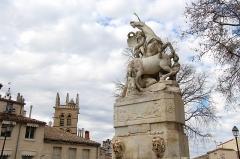 Fontaine des Licornes -  Écusson - Place de la Canourgue Fountain of the Unicorns, first installed on Place Notre Dames des Tables (Place Jean Jaurès) and was moved to Place de la Canourgue when the city hall moved in the Hôtel Richer de Belleval in 1816. Sculptor: Étienne d'Antoine 1776.