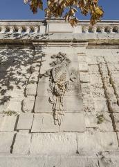 Ensemble de la promenade du Peyrou - Une partie du mur de soutènement de la Place royale du Peyrou dans sa partie sud. Montpellier, Hérault, France.