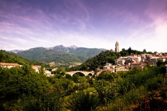 Pont du Diable -  This is Olargues from the car park just outside the village. The sky wasn't purple on the day.