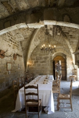 Ancien prieuré Saint-Michel de Grandmont - English:  The pilgrims passing to Compostela (Uzès Branch), entered in this first room by the corridor door that opens on to the cloister. The chimney facade was moved from the other side at th 19th century.