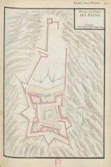 Fort-les-Bains - Català: Fort dels Banys, plànol del 1693, a Recueil des plans des environs de plusiers places du Royaume faits en l'an 1693, [París], pl. 45