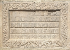 Eglise Sainte-Marie - English: Funerary inscription for Pierre de Casellès (+1220) at the portal of parish Church Sainte-Marie, Le Boulou, France.