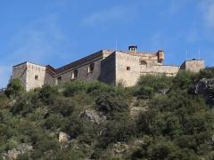 Fort Libéria (également sur commune de Fuilla) - Català: Vista des de la placeta a la Rue Saint-Jacques, Vilafranca de Conflent. Al cim del turó es divisa el Fort Libéria.