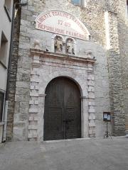 Eglise paroissiale Saint-Julien-et-Sainte-Baselisse - Català: Portalada del XVIII de l'església de Vinçà.