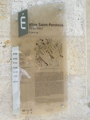 Eglise Saint-Pardoux - English: Barret, information board at the church Saint-Pardoux