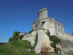 Château - Deutsch: Château de Bouteville, Blick von Südosten auf den Wohntrakt und den teilweise eingestürzten Südostturm
