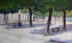 Musée -  Georges Mareste (1875-1940): La Place de la Corderie à Cognac, un jour d'été, huile sur toile (1904), Musée d'art et d'histoire de Cognac, Charente, France.