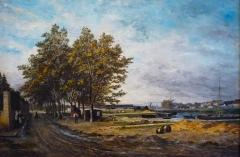 Musée -  Henri Germain (1842-1898): La cale de Cognac après la pluie, huile sur toile (1880), Musée d'art et d'histoire de Cognac, Charente, France.