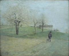 Musée -  Léonard Jarraud (1848-1926): Paysage charentais (L'Homme à la brouette), huile sur toile (entre 1880 et 1890)