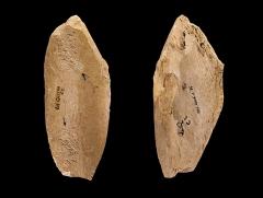 Gisement paléolithique dénommé Gisement de la Quina - English: Retoucher with two places percussion on diaphysis fragment. Stage: Middle Paleolithic (Quina Mousterian) (to – 300 000 to   - 30 000 Before the Current Era) Locality: La Quina, Gardes-le-Pontaroux, Charente, France Former collection of Léon Henri-Martin  (1864 - 1936)) Different views of the same specimen  - Muséum of Toulouse MHNT.PRE.2006.0.35 Size: 11.3x4.8x1.2 cm  69.6g</dd>