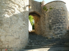 Château - English:   old castle and keep of Montignac, Charente, SW France; the entrance