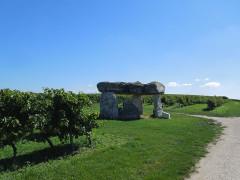 Dolmen - Deutsch: Dolmen inmitten von Weinbergen bei Saint-Fort-sur-le-Né