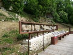 Gisement préhistorique - Français:   Reproduction de la frise, Roc de Sers, Charente, France