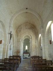 Eglise Notre-Dame - English: romanesque nave, church of Trois-Palis, Charente, SW France