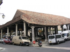 Halles -  The 16th Century covered wooden market in the centre of Villebois-Lavalette, Charente, SW France.