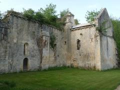 Ancienne abbaye de Fontaine Vive, ou de Grosbot - Français:   Abbaye de Grosbot (Charras, Charente, France). Eglise, porte des Morts et transept sud
