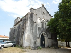 Eglise Saint-Fortunat - English: Saint-Fort-sur-le-Né, village church Saint-Fortunat, west fassade