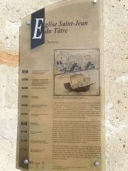Commanderie Saint-Jean - English: Le Tâtre, information board at the church Saint-Jean