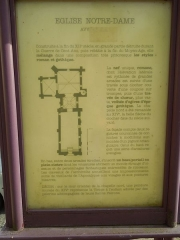 Eglise Notre-Dame - English: Avy: information board at the church Notre-Dame