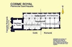 Eglise Saint-Nazaire - Deutsch: Corme_Royal, Grundriss, Handskizze