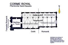 Eglise Saint-Nazaire - Deutsch: Corme-Royal, Pfarrkirche Saint-Nazaire, Grundriss