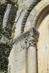 Eglise Saint-Pierre - Deutsch: Kirche Saint-Pierre in Dampierre-sur-Boutonne im Département Charente-Maritime (Nouvelle-Aquitaine/Frankreich), Kapitell