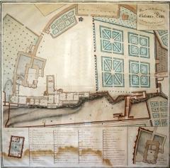 Chapelle Saint-Gilles - Français:   Visible au Musée archéologique de Pons. Plan Marsan de 1718.