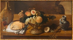 Hôtel de la Bibliothèque et du Musée - English: Antoine-Benoît Dubois (1619-1680) (attributed to). Basket of fruits and various objects. Oil on wood, undated. Gift of the Society of Friends of Arts La Rochelle, 1867.