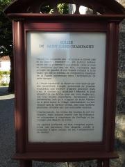 Eglise Saint-Cyr - English: Information board at the church Saint-Cyr in Saint-Ciers-Champagne