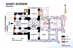 Eglise Saint-Saturnin - Deutsch: Pfarrkirche St.-Sornin, Grundrissskizze