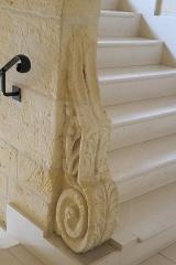 Ancienne seigneurie des Rohan - Deutsch: Hôtel des Rohan in Soubise im Département Charente-Maritime (Nouvelle-Aquitaine/Frankreich), heute Hôtel de ville (Rathaus); Volute im Treppenhaus