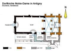 Eglise Notre-Dame - Deutsch: Antigny, Grundriss Kirche, Handskizze