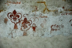 Eglise Notre-Dame - Deutsch: Kirche,Schiff,Südwand,Freskenreste, Fleur de Lys