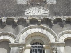 Eglise Notre-Dame - Esperanto: Malnova bildo sur fasado de la preĝejo