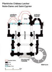 Eglise Notre-Dame - Deutsch:   Château-Larcher,Pfarrkirche, Grundrissskizze