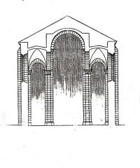 Eglise Saint-Pierre - Deutsch: St.-Pierre, Chauvigny, Aufriss Langhaus, Handskizze
