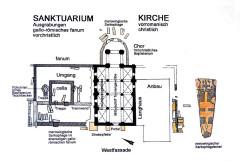 Cimetière gallo-romain - Deutsch: Civaux, Grundriss fanum und Kirche