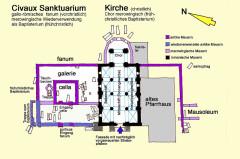 Cimetière gallo-romain - Deutsch: Civaux,Sanktuarium,Kirche,Grundris, Handskizze