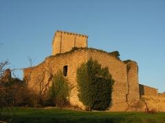 Château et église Notre-Dame -  Vue extérieure du Donjon de Moncontour. L'entrée dans l'enceinte est à droite.