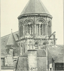 Eglise Sainte-Radegonde - English:   Identifier: howtojudgearchit00stur (find matches)  Title: How to judge architecture: a popular guide to the appreciation of buildings  Year: 1903 (1900s)  Authors:  Sturgis, Russell, 1836-1909  Subjects:  Architecture Architecture -- Study and teaching  Publisher:  New York: The Baker & Taylor Co.  Contributing Library:  University of California Libraries  Digitizing Sponsor:  MSN    View Book Page: Book Viewer  About This Book: Catalog Entry  View All Images: All Images From Book  Click here to view book online to see this illustration in context in a browseable online version of this book.    Text Appearing Before Image:  Mediseval Design France, the richness of conception, and theeasy way in which the constructional partsof the building are loaded with carvedadornment without injury to its massive-ness and its dignity are surprising enough.The sculpture is barbaric in its lack ofknowledge, but to be barbaric is not to beweak or insignificant. The nineteenth cen-tury workmen of Europe had no suchpower of effective design. In this, as inbuilding, the eleventh century men weresurpassed by those of the years to follow:and but for that still greater Gothic art(see Chapter IV) we should have to goto Romanesque architecture for constantstimulus. The architecture of the Eastern half ofthe Empire was much less nearly Romanin its plan. Basilicas there were; but at avery early epoch the type of what the Ger-mans call the Centralbau prevailed. Thecentred building; so we might designatethe plan and structure which presuppose asupremely important central feature, a hall,however opened up on three sides or four(84)  Text Appearing After Image:  TOWER OF CHURCH OF !JT. RADEGONDE, POITIERS, (VIENNE) FRANCE.PLATE XXI.    Note About Images   Please note that these images are extracted from scanned page images that may have been digitally enhanced for readability - coloration and appearance of these illustrations may not perfectly resemble the or