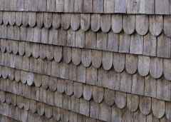 Eglise Saint-Martin -  Wood shingles made of sawn «mountain tamarin» (Acacia heterophylla) covering the external wall of the church of Grand Ilet (Salazie, Réunion island)