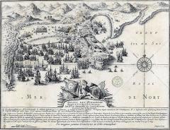 Fort Saint-Louis - Français:   Assaut des Hollandais repoussés du Fort Royal de la Martinique par Mr le Chevalier de Sainte Marthe en 1674, gravure de Pierre Brissart