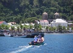 Ancienne cathédrale Notre-Dame-de-l'Assomption, actuellement église du Mouillage -  Saint-Pierre, Martinique.  View from the ocean of the town.  French Overseas territory of Martinique Saint-Pierre