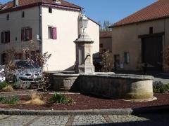 Maison avec statue de la Vierge - Français:   Fontaine au centre de la place de la Fontaine à Liverdun.