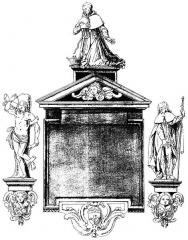 Eglise Notre-Dame-de-Bonsecours -  Copie (par Alexandre Geny) d\'un dessin de Siméon Drouin pour un monument votif érigé en 1645-1646 dans l\'ancienne église Notre-Dame-de-Bonsecours de Nancy.
