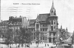 Ancienne banque Renauld - English: Postcard: Nancy Place et Rue Saint-Jean with tram in summertime. Renauld bank.