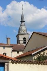 Eglise Saint-Pantaléon - Français:   Clocher de l\'église Saint-Pantaléon