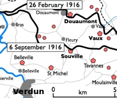 Fort -  Basic 300-pixel thumbnail map showing location of Fort Doumont in relation to Verdun and the other forts north and northeast of Verdun. The lines of advance of German forces as at 26 February and 6 September 1916 are shown in black. The River Meuse is shown in blue at left.