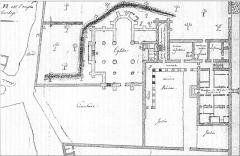 Ancienne abbaye cistercienne - Deutsch: Abtei La Chalade, Grundriss im Jahr 1822